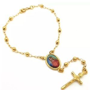 Jewelry - Gold rosary MARY bracelet dangle beautiful